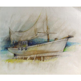 Study Boat in Dry Dock, Oil Pastel on Paper For Sale