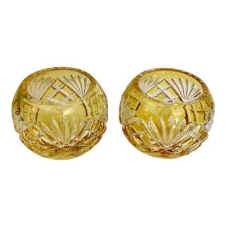 Faberge Odessa Amber Crystal Hand Cut Votives - Signed - a Pair For Sale