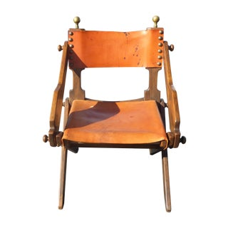 Vintage Orange Leather Director's Style Chair For Sale