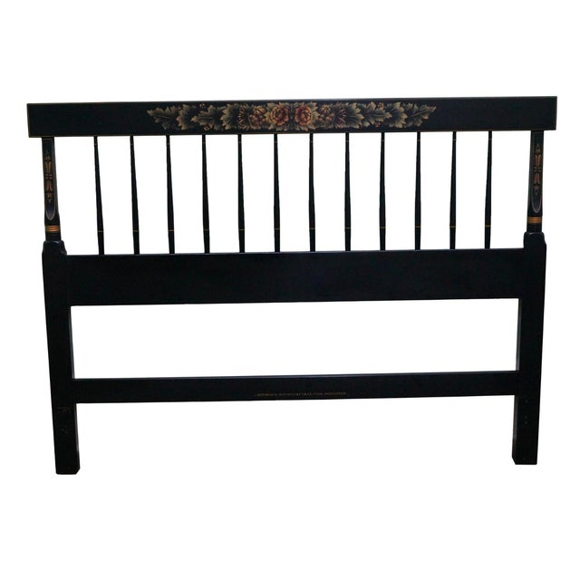 Hitchcock Black Painted Stenciled Full Size Headboard For Sale