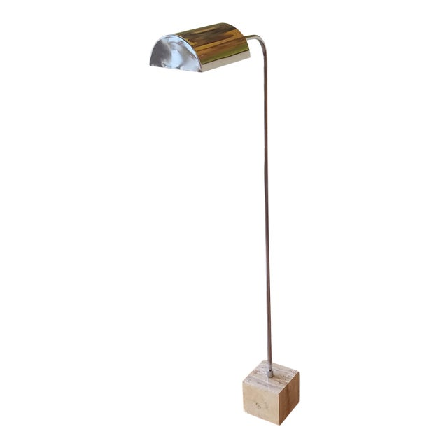 1970s Fratelli Mannelli Travertine and Chrome Floor Lamp for Raymor For Sale