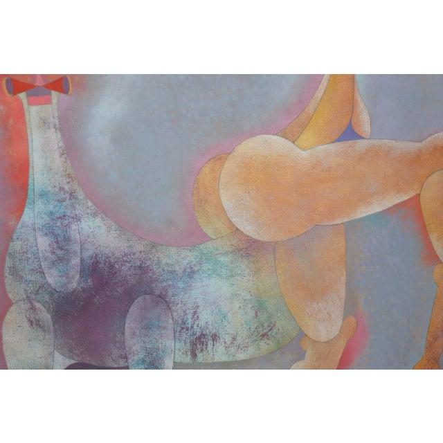 1980s Armando Villagrán, Figure W/ Animal Original Oil Painting C.1985 For Sale - Image 5 of 6