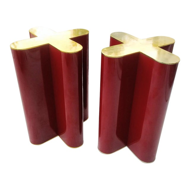 "A Pair Mid Century Modern Cherry Red and Brass ""X"" Style Table Bases Attributed to Curtis Jere For Sale"