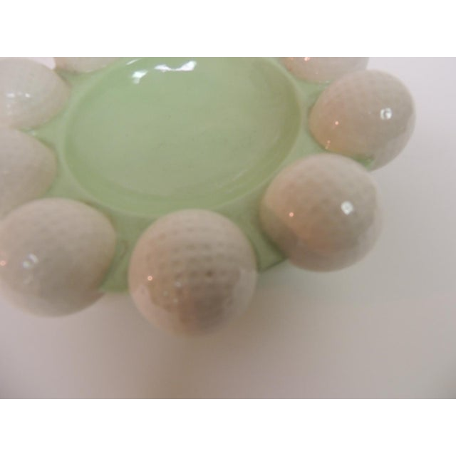Vintage Round Green & White Golf Balls Ashtray For Sale - Image 5 of 5