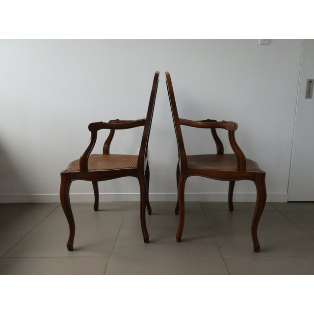 Reproduction Louis XV Walnut Caned Dining Chairs - Set of 8 - Image 3 of 10