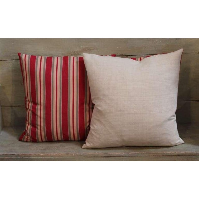 19th Century Fantastic Pair of Red and Tan Ticking Pillows For Sale - Image 4 of 4
