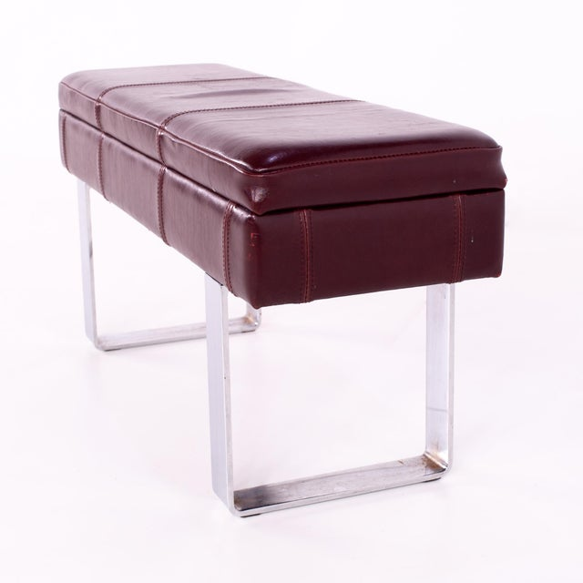 1960s Mid Century Milo Baughman Style Maroon Leather Bench For Sale - Image 5 of 8