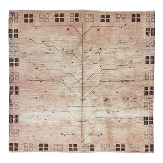 Contemporary Hand Woven Ivory Wool Rug 5'7 X 5'7