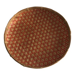 Boho Chic Round Woven Nesting Wall Basket Tray For Sale