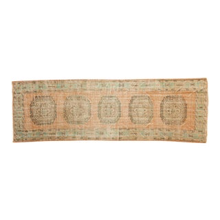 "Vintage Distressed Oushak Rug Runner - 3'9"" X 11'5"" For Sale"