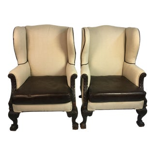 19th Century English Wingback Chairs - A Pair For Sale