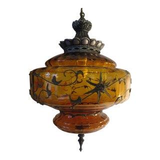 Carl Falkenstein Vintage Mid-Century Amber Swag Lamp