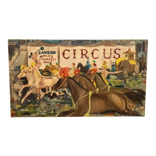 1940s Circus Scene Painting on Canvas For Sale