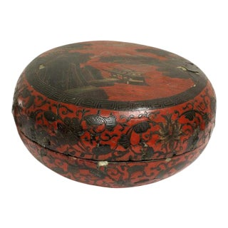 Red Lacquer Chinese Dome Box