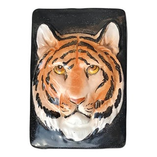 Italian Mid Century Hand Painted Terra Cotta Tiger Trinket Box For Sale