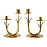 Image of Modern Brass Candle Holders by Gunnar Ander for Ystad Metall-a Pair For Sale
