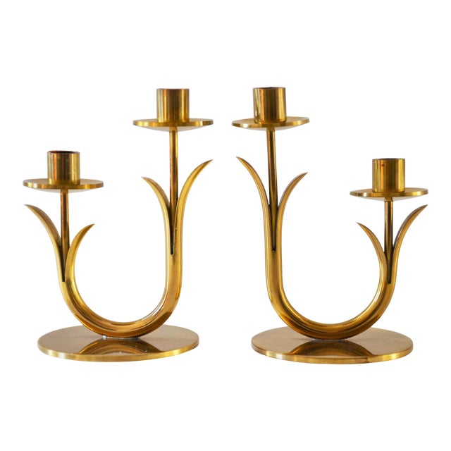 Modern Brass Candle Holders by Gunnar Ander for Ystad Metall-a Pair For Sale