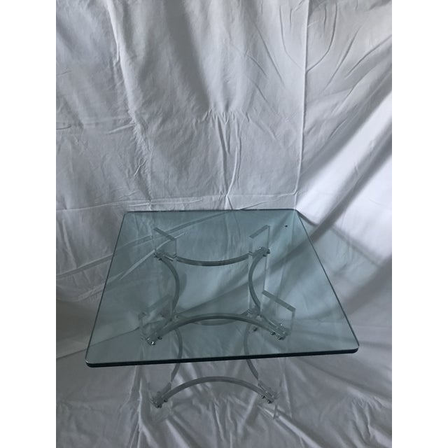 1970s Charles Hollis Jones Lucite, Glass, & Chrome Side Table For Sale - Image 5 of 6