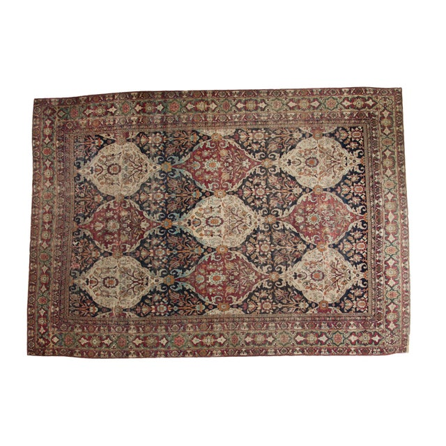 """Unusual Antique Lavar Kerman Carpet - 8'6"""" X 11'10"""" For Sale"""