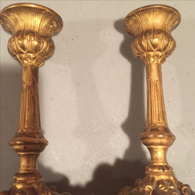 Antique Bronze Finish Candlesticks - Pair - Image 4 of 7