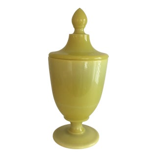1950s Vintage French Opaline Yellow Apothecary Jar For Sale