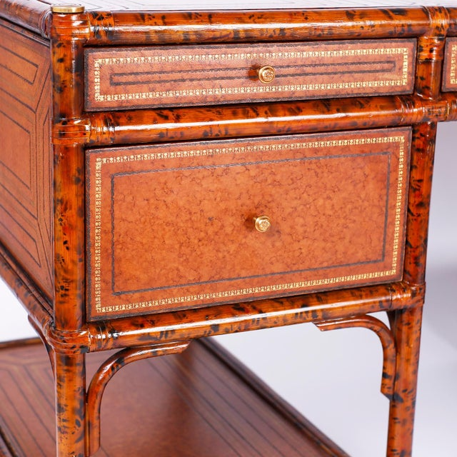 Mid 20th Century Midcentury Faux Tortoise Leather Topped Desk by Maitland-Smith For Sale - Image 5 of 10