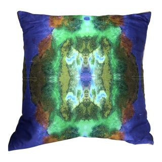 Contemporary Water Color Silk Square Pillow For Sale