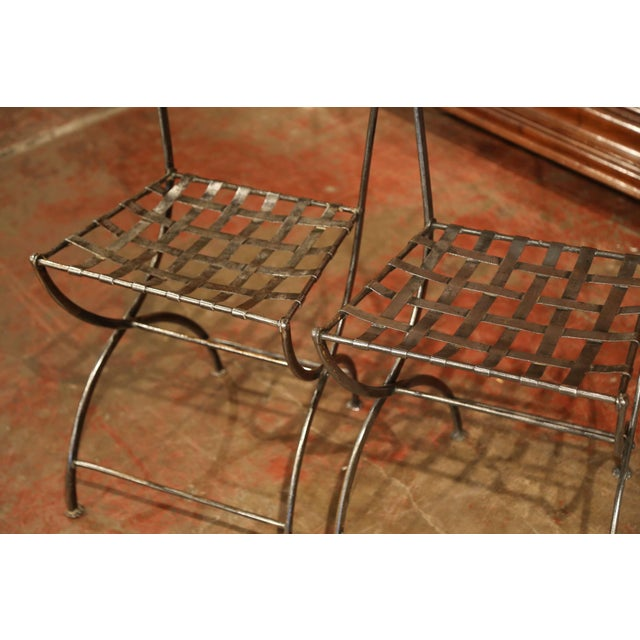 19th Century French Polished Iron Bistro Chairs From Paris - a Pair For Sale - Image 9 of 11
