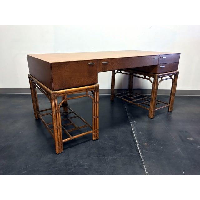 Hollywood Regency Vintage Refurbished Henredon Bamboo Rattan Double Pedestal Desk For Sale - Image 3 of 13