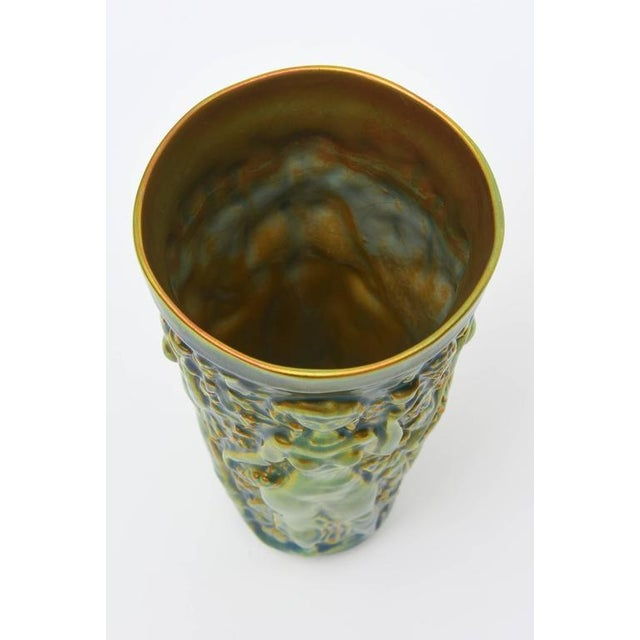 Early Zsolny Irridescent Glazed Relief Sensual Ceramic Vase or Vessel - Image 8 of 8