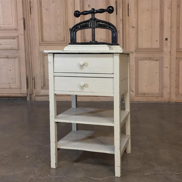 This19th Century Cast Iron Paper Press on Painted Stand is amazingly well preserved, and still perfectly functional after...