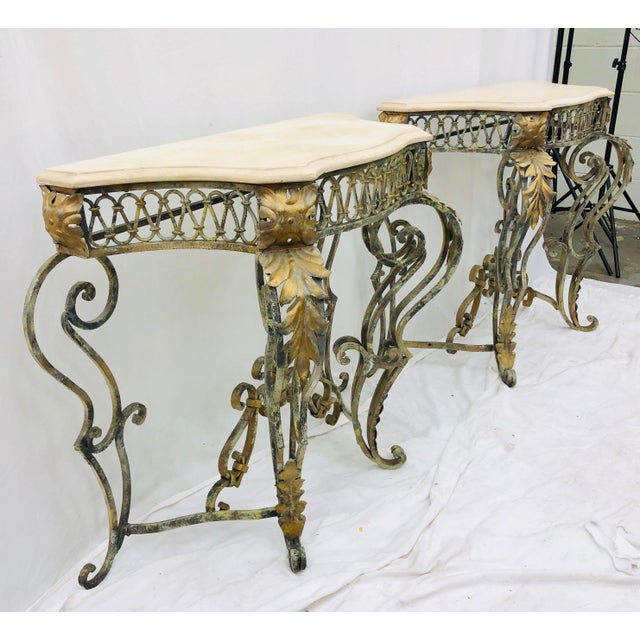 Concrete Pair Vintage Wrought Iron & Stone Side Tables For Sale - Image 7 of 11
