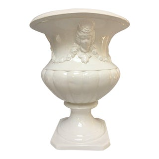 Large White Neoclassical Ceramic Urn Planter For Sale