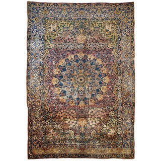 1880s Handmade Antique Persian Yazd Rug 7.3' X 10.3' For Sale