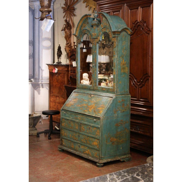 18th Century Italian Hand Painted Secretary Bookcase With Chinoiserie Decor For Sale - Image 9 of 12