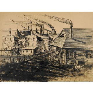 Wpa Style Industrial Cityscape Drawing Circa 1940's For Sale