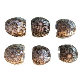 Vintage Carved Natural Tiger Leopard Cowrie Shell Napkin Rings - Set of 6 For Sale