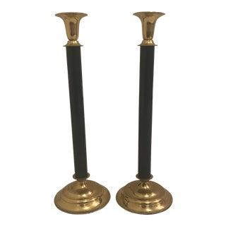 Hunter Green & Brass Candlesticks, a Pair