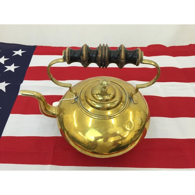 Vintage Brass Tea Kettle For Sale - Image 4 of 5