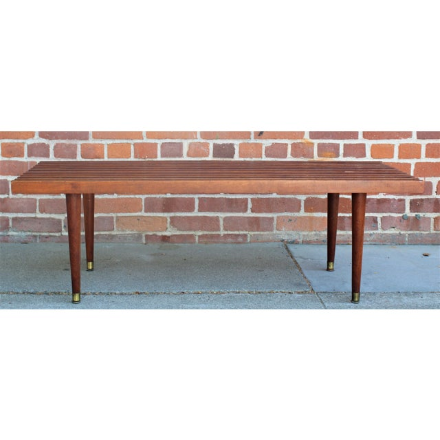 Mid-Century Modern Walnut Slat Bench/Coffee Table For Sale - Image 4 of 11