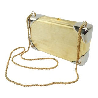 1970's Walborg Brushed Gold & Silver Italian Box Handbag For Sale
