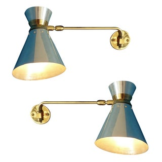 Pierre Guariche Style Adjustable Wall Sconces - A Pair For Sale