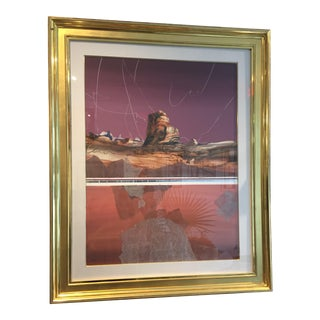 Harold Larsen Abstract Landscape Watercolor Painting in Gilt Frame For Sale