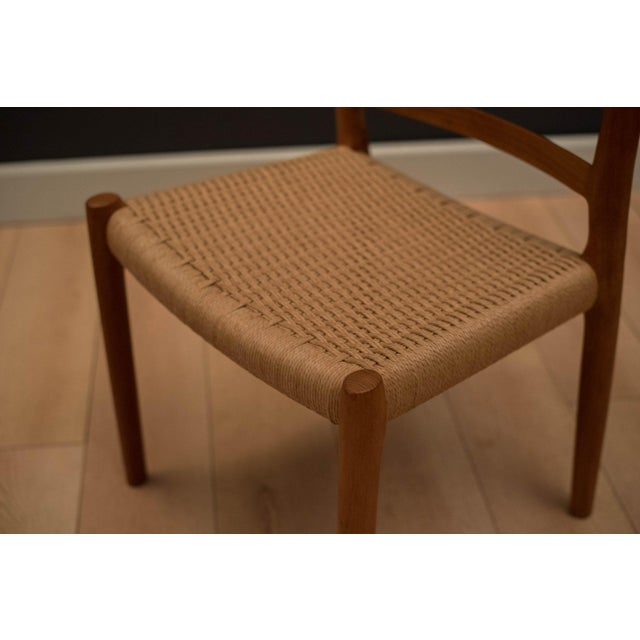 Vintage Mid Century Moller Model 85 Danish Teak Dining Chairs- Set of 8 For Sale - Image 6 of 12