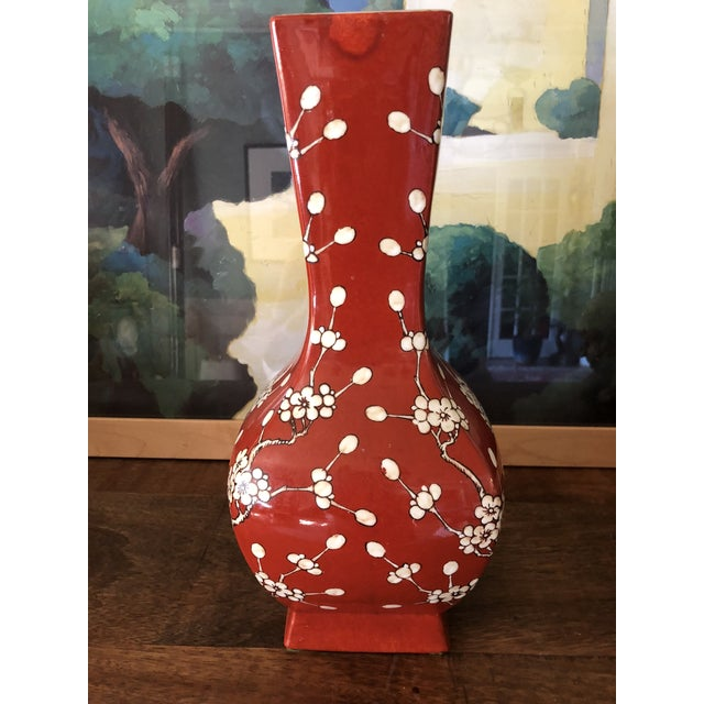 Japanese porcelain ware vase with cherry blossom pattern. Decorated in Hong Kong. Stamped on bottom.