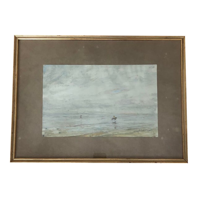 Early 20th Century Edwardian Style Fishermen Scene Oil Painting by Julius Seyler, Framed For Sale