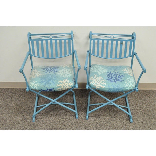 Pair of Vintage Hollywood Regency X Form Blue Iron Curule Directors Arm Chairs B - Image 3 of 11