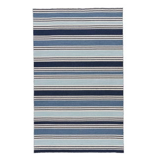 Jaipur Living Salada Handmade Striped Blue/ White Area Rug - 9′6″ × 13′6″ For Sale