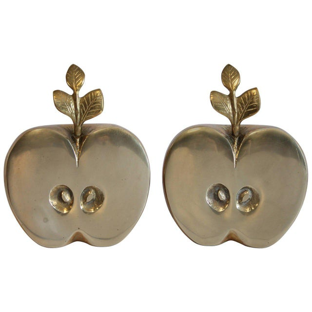 Mid-Century Brass Apple Bookends- A Pair - Image 3 of 4