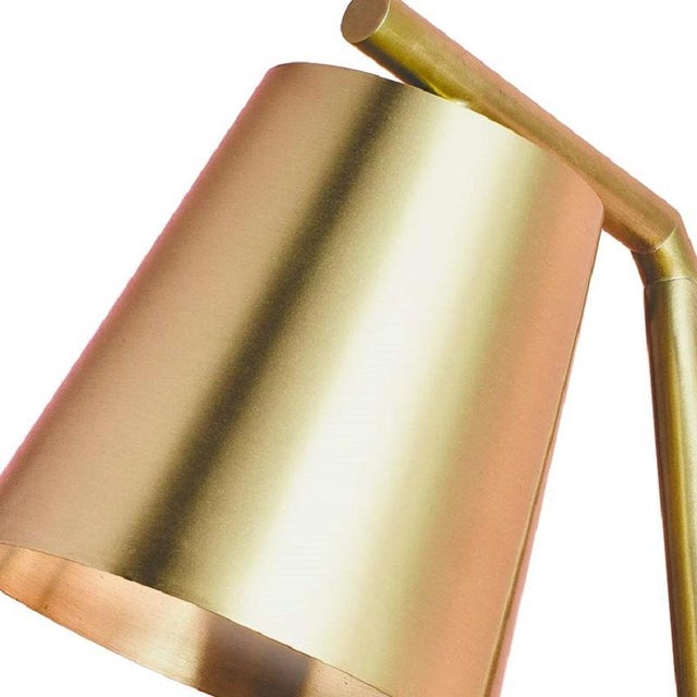 Modern Table Lamp Brushed and Lacquered Brass For Sale - Image 3 of 6
